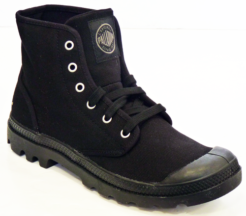 PALLADIUM PAMPA BOOTS BLACK CANVAS MOD INDIE BOOTS