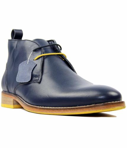 PAOLO VANDINI KINGSTON LEATHER RETRO SHOES NAVY