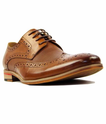 PAOLO VANDINI NATEBY LEATHER RETRO BROGUES TAN