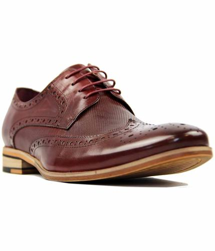 PAOLO VANDINI NATEBY LEATHER RETRO BROGUES WINE