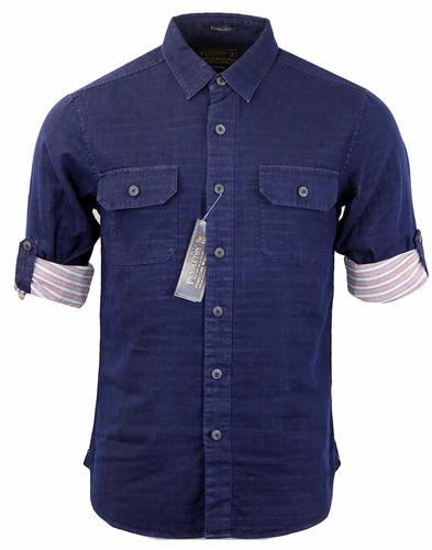 PENDLETON NAVY ROLL BACK SLEEVES SHIRT