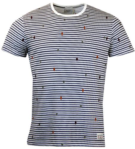 PEPE JEANS ANTIGUA ENGINEERED STRIPE OP ART TEE