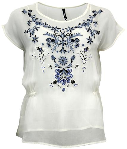 PEPE JEANS BUFFY RETRO SEVENTIES FLORAL BEAD TOP