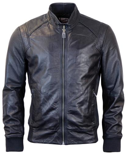 PEPE JEANS RETRO CORBIN LEATHER JACKET BLUE