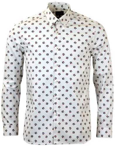 PETER WERTH CROME JAPANESE FLORAL PRINT SHIRT