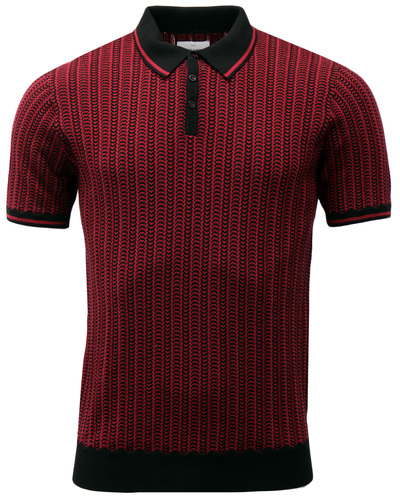 PETER WERTH NAVAL MOD TWO TONE CHAIN KNITTED POLO
