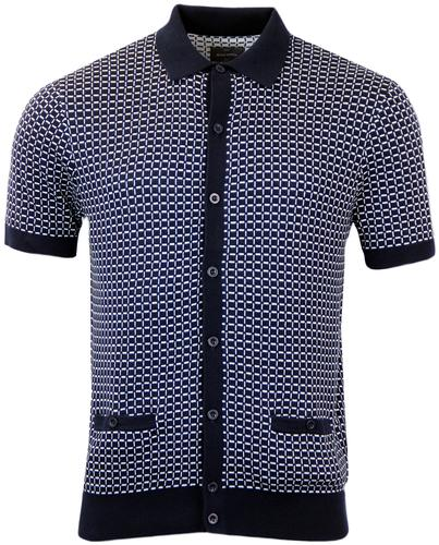 PETER WERTH RAMSAY RETRO MOD GRID KNITTED POLO
