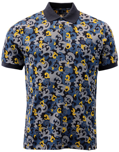 PRETTY GREEN RILEY RETRO MOD CAMO PAISLEY POLO