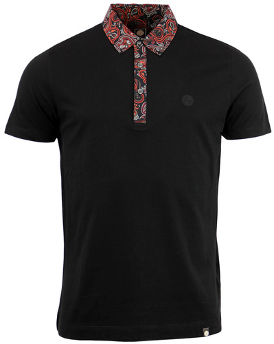 PRETTY GREEN TURNER 60S MOD PAISLEY TRIM POLO