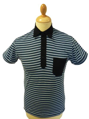 Mavers Mens Retro Sixties Stripe Mod Polo Shirt B