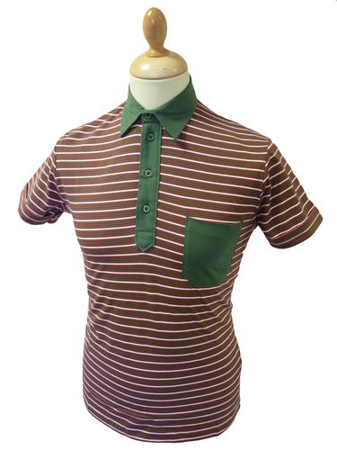 Mavers Mens Retro Sixties Stripe Mod Polo Shirt K
