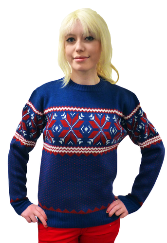 'Woolly Jumper' - Retro Winter Xmas Jumper (Blue)