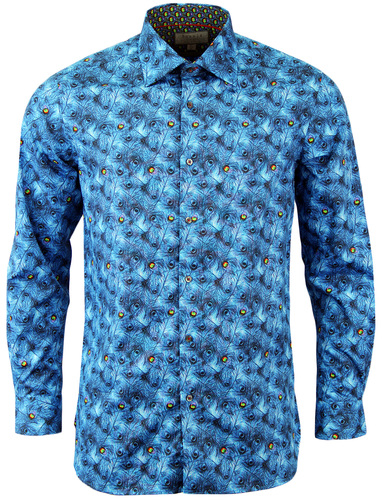 ROCOLA Retro 60s Psychedelic Peacock Feather Shirt