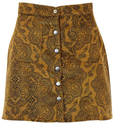 RETRO MOD SIXTIES PAISLEY CORD SKIRT TOBACCO