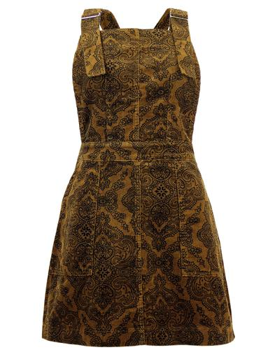 RUN & FLY RETRO 60S PAISLEY CORD PINAFORE