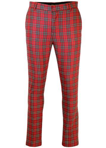 Retro Mod Sixties Slim Fit Stewart Tartan Trousers