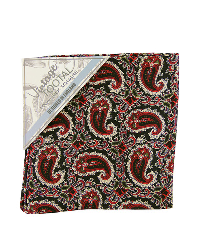 tootal floral paisley pocket square burgundy