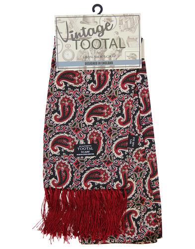 tootal floral paisley scarf burgundy