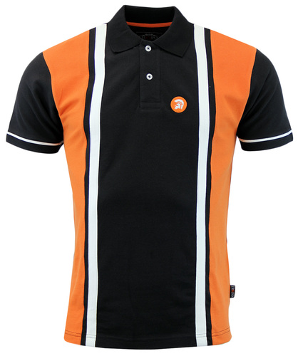 TROJAN RECORDS RETRO 60S MOD STRIPE PANEL POLO