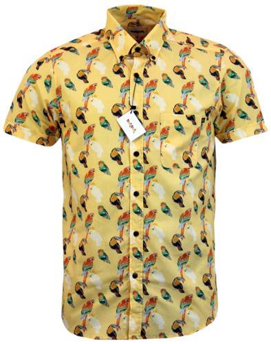 TUKTUK Retro Mod Button Down Parrot Sketch Shirt