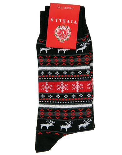 VIYELLA CHRISTMAS FAIR ISLE RETRO SOCKS BLACK