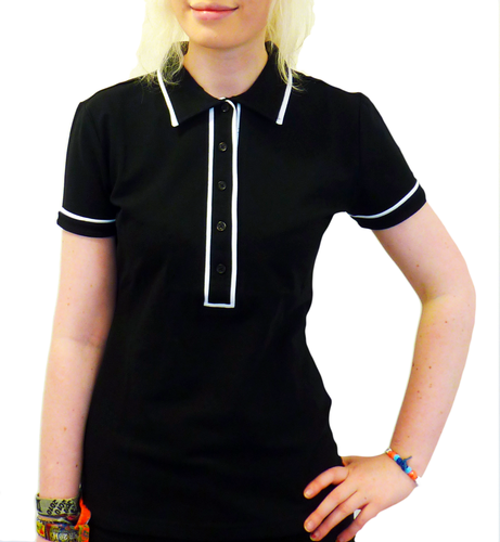 'Ronnie' - Womens Retro Mod Piped Polo Top (Black)