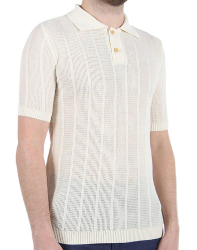 Aaron AFIELD Mens Retro 60s Knitted Crepe Polo W