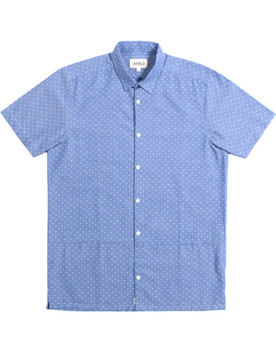 afield bager retro mod polka dot chambray shirt