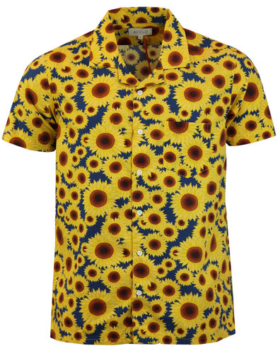Stachio AFIELD Retro 60s Sunflower Hawaiian Shirt