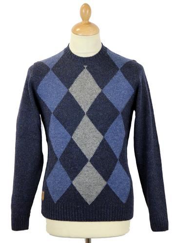ALAN PAINE MERSHAM RETRO MOD ARGYLE KNIT JUMPER