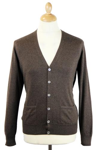 ALAN PAINE DENSIDE RETRO COTTON CARDIGAN CHOCOLATE