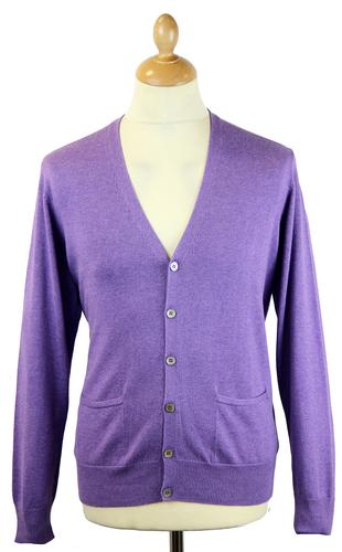 ALAN PAINE DENSIDE RETRO COTTON CARDIGAN GRAPE