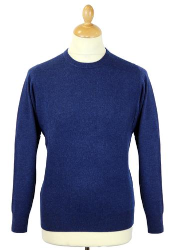 ALAN PAINE RETRO CREW NECK WOOL JUMPER INDIGO
