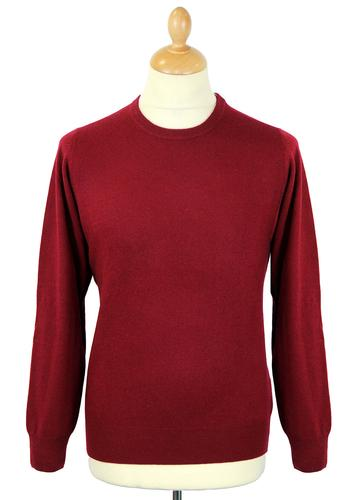ALAN PAINE RETRO CREW NECK WOOL JUMPER CLARET