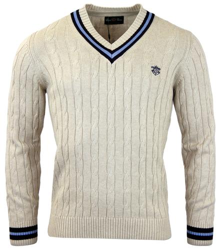 ALAN PAINE RETRO MOD KNIT CABLE CRICKET JUMPER