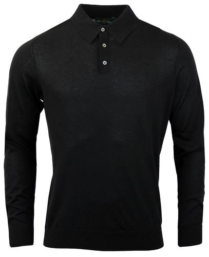 ALAN PAINE RETRO MOD LONG SLEEVE POLO BLACK
