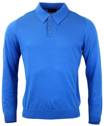 ALAN PAINE RETRO MOD LONG SLEEVE POLO BLUE