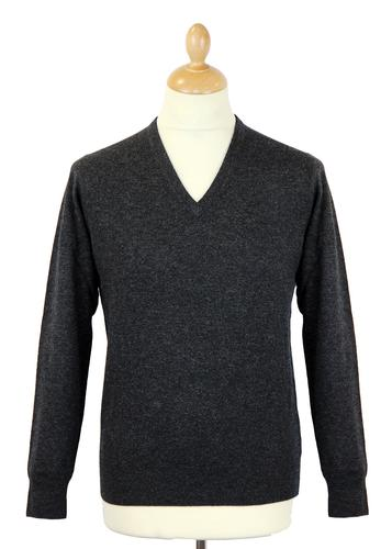 ALAN PAINE RETRO V-NECK WOOL JUMPER CHARCOAL