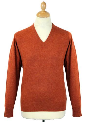 ALAN PAINE RETRO V-NECK WOOL JUMPER ORANGE