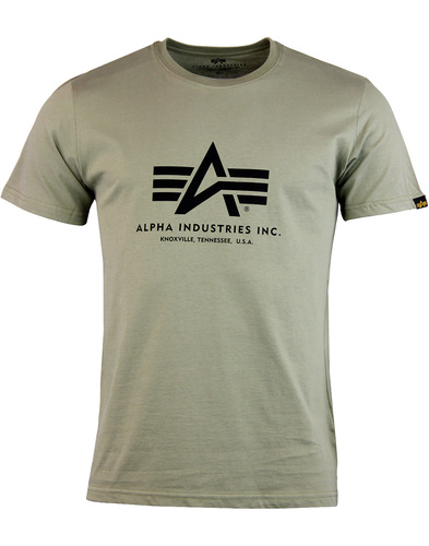 alpha industries basic logo tee olive