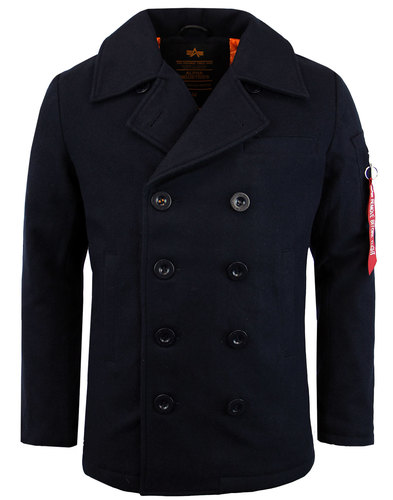 alpha industries retro 1960s mod vf pea coat navy