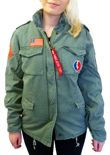 ALPHA INDUSTRIES 60S LOVE PEACE WOMENS ARMY JACKET