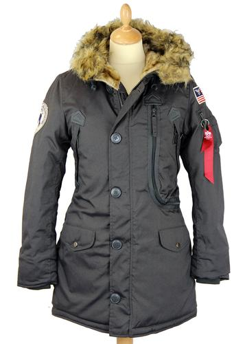 ALPHA INDUSTRIES WOMENS POLAR PARKA COAT GREY