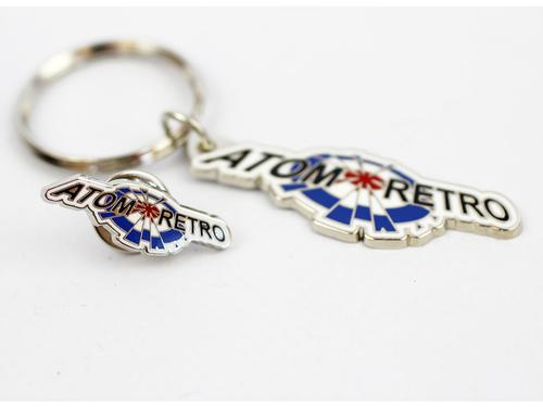 ATOM RETRO Keyring & Pin Badge Mod Target Logo Set