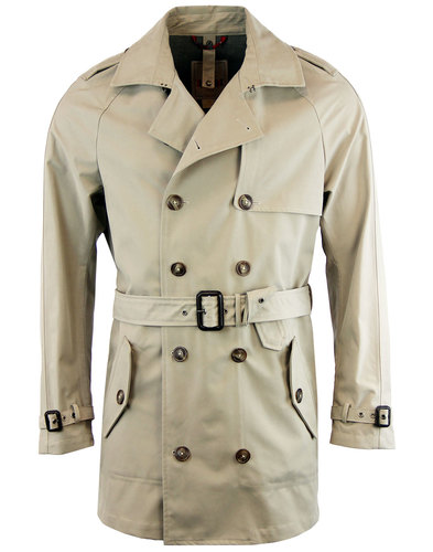 baracuta retro 60s mod belted trench coat 3l stone