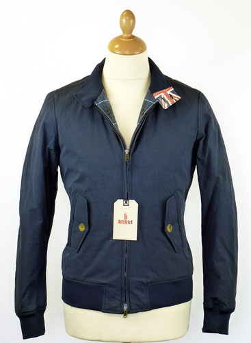BARACUTA ORIGINAL G9 NYLON HARRINGTON JACKET NAVY