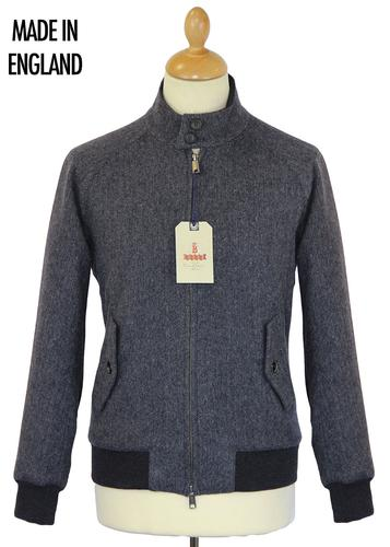 BARACUTA G9 MELTON HERRINGBONE HARRINGTON GREY