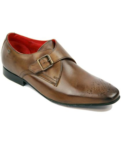 Cuffs BASE LONDON Retro Mod Monk Strap Shoes BROWN