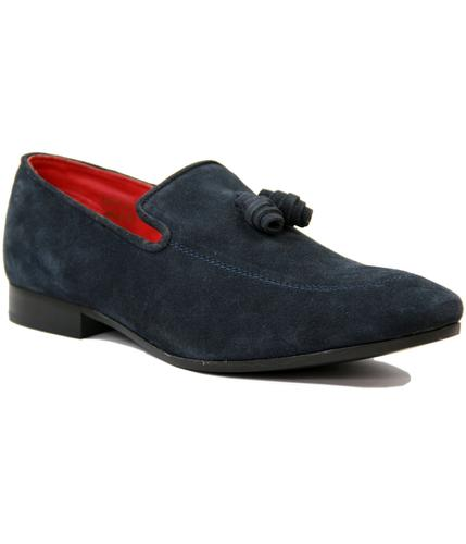 BASE LONDON RETRO MOD 70s SUEDE TASSEL LOAFERS