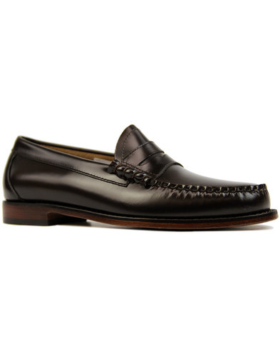 bass weejuns larson mod penny loafers dark brown